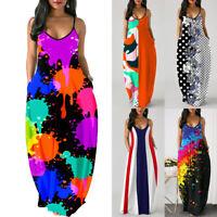 Womens Boho Spaghetti Strap Long Maxi Dresses Summer Casual Loose Beach Sundress