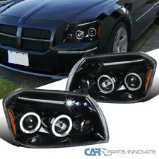 For Dodge 05-07 Magnum LED Halo Pearl Black Projector Headlights Head Lamps Pair