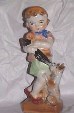 """OCCUPIED JAPAN Figurine Girl with Terrier Dog Pulling Umbrella Large 8"""""""