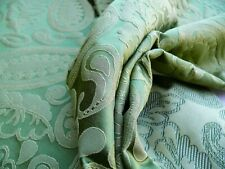 "2.3YD SCALAMANDRE ANGELIQUE PAISLEY SILK DAMASK ""GREEN"" GOLD MSRP$298/Y"
