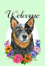 Welcome Flowers House Flag - Australian Cattle Dog 63072
