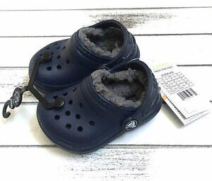 Crocs Classic Navy/Gray Fuzzy Fur Plush Lined Crocs Toddler Little Boys Size 4