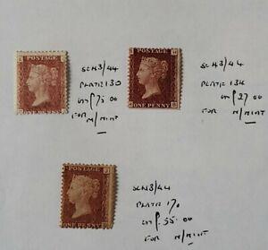 GB QUEEN VICTORIA SG 43 1D RED PL'S 130,134,170 MINT NO GUM