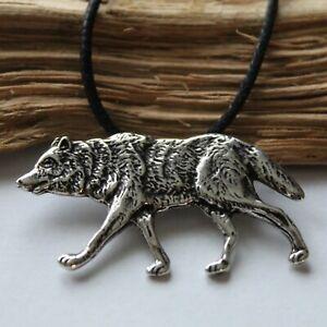 Wolf Ketten Anhänger Silber 925 mit Band Sterlingsilber