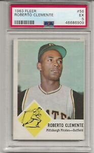 1963 FLEER #56 ROBERTO CLEMENTE, PSA 5 EX, SET BREAK - HOF, PITTSBURGH PIRATES