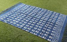 3x5.ft Dari Rug Indigo Blue Area Rug Floor Rug Carpet Home Decor Floral Runner