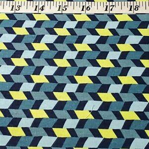 Half-Yd Blue~Slate Blue~Navy~Yellow, Rows of Geometric Print, Jo-ann Fabrics A