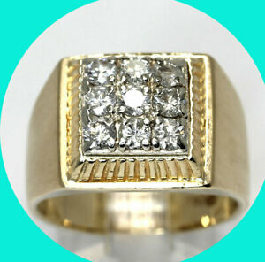 ".90CT! Mens diamond ring 14K tt/gold 9 round brilliants geometric 1/2"" size 9.25"