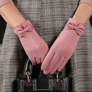 Winter Women's Outdoor Cycling Cashmere Warm Gloves Cute Bow Embroidery Thin CA
