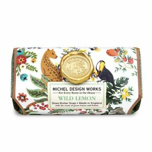 Michel Design Works Large 8.7 oz Artisanal Bar Bath Soap Wild Lemon Flora Fauna