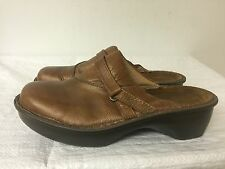 NAOT Women Shoes Brown Leather Slides Slip On Comfort Mules Clogs Size 38