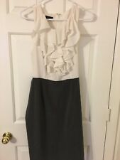 New Beautiful Womens Grey and white belted ruffle halter dress size 12