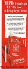 Pall Mall Greater Length Filters The Smoke 14x4 Paper Ad Tavern Trove