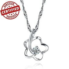 Certified Gold Plated Sterling Silver Solitaire Rose Pendant w/ 18'' Necklace