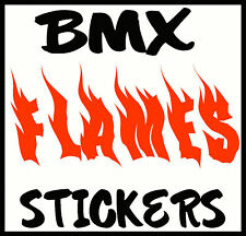 2 X CUSTOM PERSONALISED NAME IN FLAMES STICKERS FOR BMX