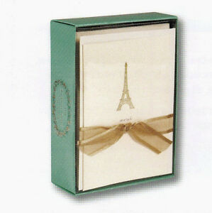 """Boxed thank you cards """"Merci"""" with Eiffel Tower - Box of 10 cards & envelopes"""