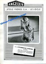 1943 Angelus Clock Co Stolz Freres SA Pendulette Lampion Advert Swiss Print Ad