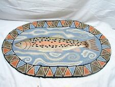 Vintage Claire Murray Hooked Rug Art Mat Hand Made Rainbow Trout Fishing Cabin