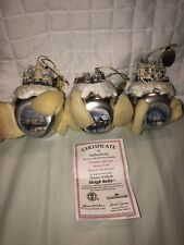 New Listing2006 Lot of 3 Thomas Kinkade Sleigh Bells Ornaments, Ashton-Drake, Holidays,Pond