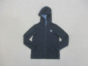 Abercrombie & Fitch Sweater Youth Medium Blue White Moose Hoodie Kids Boys