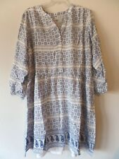 Old Navy Womens XXL 2X Blue Cream Floral w/ Slip Lining L/S Dress New