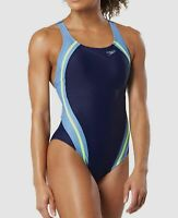 $180 Speedo Women's Blue Powerflex Splice Cutout One-Piece Racerback Swimsuit 10