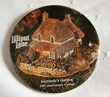 LILLIPUT LANE Promotional Pin Back Button # 1  GERTRUDE'S GARDEN 1995 COTTAGE