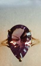 ❤ JAYNES GEMS   4.5CT PEAR CUT AMETHYST & DIAMOND 9CT SOLID  GOLD RING SIZE N-