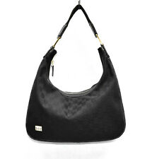 F0 Auth GUCCI Black GG Canvas Jacquard Leather Trim Gold HW Zip Top Shoulder Bag