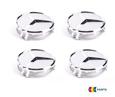 NEW GENUINE MERCEDES BENZ MB WHEEL HUB CENTER CAP CHROME SILVER STAR 4PCS
