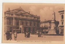 Milano Facciata Teatro Scala e Monumento a Leonardo da Vinci Postcard Italy 441a