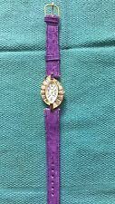 Vintage Purple Ladies Watch Leather Band Beautiful Crystals New