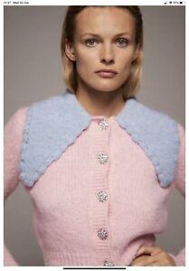 ZARA Pink Knit Cardigan Gem Buttons Blue Collar S!  bloggers instagram fav