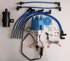 small cap FORD INLINE 6 170-200-250 Blue HEI Distributor+Black Coil +plug wires