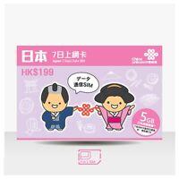 JAPAN DATA SIM 5GB 42MB WCDMA 3G 7 DAYS PREPAID SIM SOFTBANK UNICOM RECHARGE OK