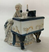 Porcelain German Figurine Lady Playing Piano White Blue Gold Colonial Vintage