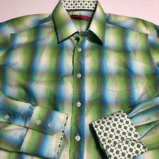 Mens Georg Roth Los Angeles Blue Plaid Flip Cuff Green Blue Shirt Sz XL