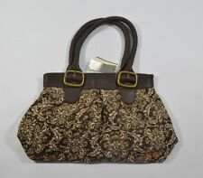 Split JACKSON Brown Brass Magnetic Snap Floral Distressed Straps Buckles Purse