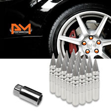 M12X1.5 Silver JDM Spiked Cap Hex Wheel Lug Nut+Extension 20mmx123mm Tall 20Pc