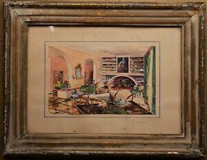 petit tableau aquarelle de Pierre Pascalet (1915-2000): intérieur de maison