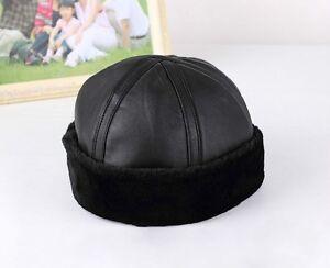 Fashion Shearling Leather Fur Beanie Hat Sailor Cap Cuff Round Bucket Winter New