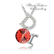 18K White Gold Plated Plated With Swarovski Crystal Orange Red Round D Necklace