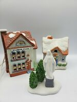 Christmas Village 3 pc Small Lighted House Figurine set