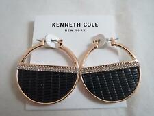 Kenneth Cole gold tone~black~crsyal hoop earrings, NWT