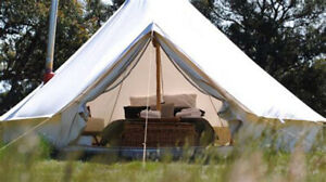 6M Outdoor Canvas Bell Tent Camping Glamping Family Tent Hunting Yurt Stove Jack
