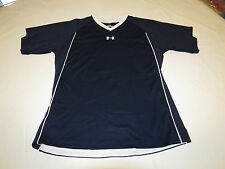 Under Armour UA navy blue v neck T shirt YLG L Youth athletic Boys active EUC@