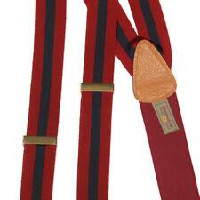 TRAFALGAR Suspenders Sharp Red Navy Blue Silk Gentlemans Adjustable Braces