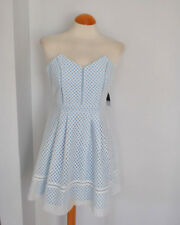 Ladies BNWT Topshop Blue Crochet Lace Mesh Skater Dress Fit Flare Cami Size 10