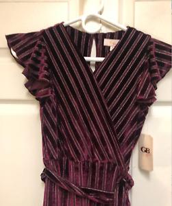 NEW GB Gianni Bini Girls Wine Stripe Velvet Flutter Sleeve Jumpsuit Romper M