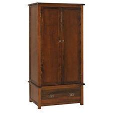 Premium york 2 Door 1 Drawer Wardrobe- Solid Pine- Dark Antique Brown -Vintage